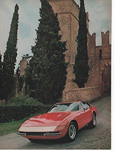 Vintage Magazine Print: Red 1971 Ferrari Daytona 365 GTB/4, Colombo V12 4.4 L, two-seat grand tourer, Castello di Serravalle (Colombo Grand)