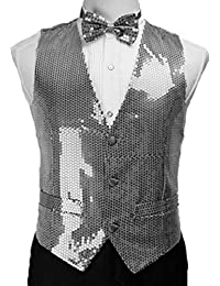 Suxiaoxi Men's Shining Sequins Nightclub with Bow Tie Waistcoat for Prom