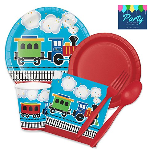 All Aboard Choo Choo Train Birthday Party Supply Pack for 16 Guests - Plates, Napkins, Cups, Plasticware by Party Tableware Today