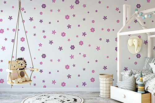 Set of 100 Flower Wall Stickers - Flower Wall Stickers - Childrens Room Decorating Ideas - Kids Room - Teen Room - Vinyl Wall Stickers
