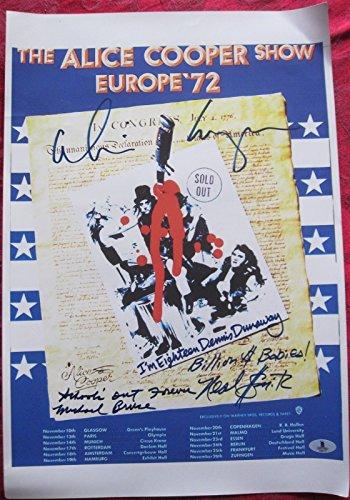 Reprint Concert Poster - Alice Cooper Band 4x signed 12x18 Reprint Concert Poster BAS Beckett Authentic