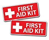 2 x Red First Aid Sticker Decal for Emergency Kid Camp DIY Box or Kit