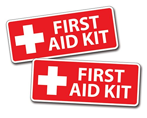 (2 x Red First Aid Sticker Decal for Emergency Kid Camp DIY Box or Kit)