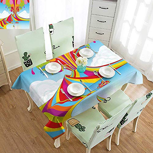 DILITECK Stain-Resistant Tablecloth Volcano Skyline of Naples and Vesuvio in Rainbow Eruption Themed Artistic Illustration Soft and Smooth Surface W50 xL80 Multicolor