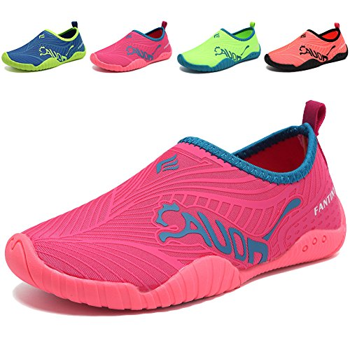 DESTURE Toddler Boy Girl Water Shoes Quick-Dry Swim Shoe Slip-on Baby Aqua Beach Outdoor Sport Sneakers (Little Kid/Big Kid), U519SSX003,3rosered,33 ()
