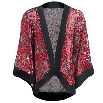 Womens Red Floral Kimono Jacket: Amazon.co.uk: Clothing