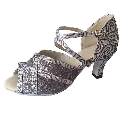 de Gris Heel Q Zapatos Sparkling Baile T T para Glitter Mujer Gris twqZx