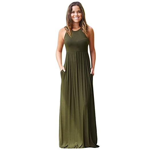 Amazon Hot Sale Plus Size Dresswomen Sleeveless Solid Pocket