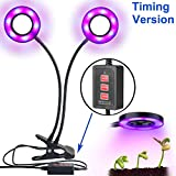 LED Grow Light Aokey Dual-lamp Plant Light 36LEDs 12W 3 Modes Timers(3H/6H/12H) Dimmable 5 Levels Grow Lamps with 360 Degree Gooseneck for Indoor, Office, Home, Gardenhouse