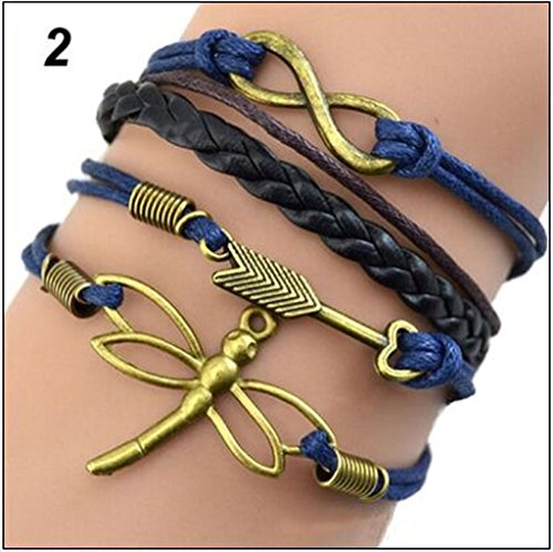 iVan Boys / Girls Leather Metal Bracelet Multilayer Braided Friendship Butterfly Arrow Charm (Dance Costume Suppliers Uk)