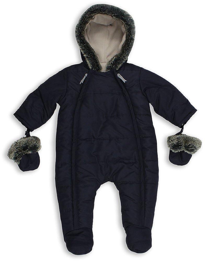 Navy Blue The Essential One EO135 Baby Unisex Quilted Fur Trim Pramsuit//Snowsuit