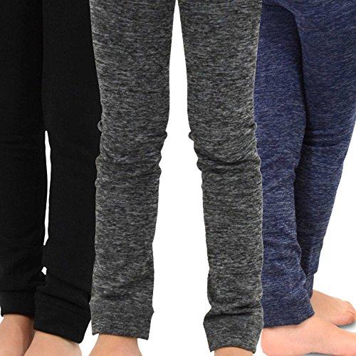 NaartjieKids Girls Fleece Inner Brushed Leggings 3 Pack, Patterned Grey+Navy+Black, 6-8 Years