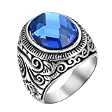 men class rings - Men's Vintage 316L Stainless Steel Statement Ring Celtic Knot Blue Glass Class Band (8)