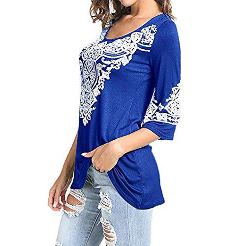 Demi Longs Tops Coeur Imprim Femmes Occasionnels Blouses Nouveau Ocou Tshirt zahuihuiM Automne Mode Manches Bleu Imprim Printemps nC6WqSv