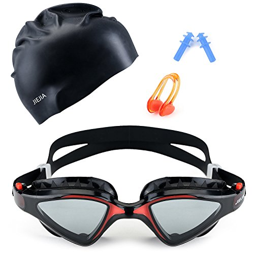 Mee'sport Swim Goggle Set with Anti Fog UV Protection Swimming Goggles Swim Cap and Ear Plugs Nose Clip Swimming Equipment Toys Games Triathlon Equipment for Adult Men Women Youth Boys - Hats Triathlon
