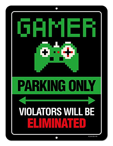 (Gaming Room Decor, Gamer Parking Only Violators Will Be Eliminated, 9 x 12 inch Metal Aluminum Novelty Tin Sign, Video Game Room Decor, Game Room Sign)