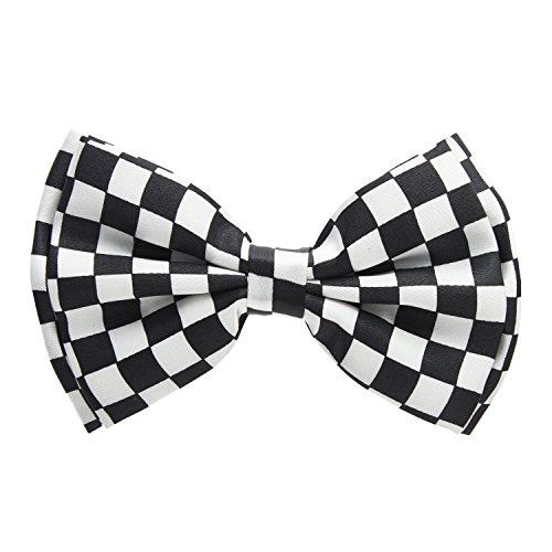 Man of Men - Men's Pre – Tied Bow Tie Black and White Formal -