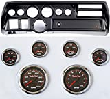 Classic Dash 105702111 Chevelle Sweep Black Dash Carrier Panel w/High Velocity Red Line Gauges