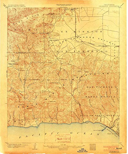 YellowMaps Calabasas CA topo map, 1:62500 Scale, 15 X 15 Minute, Historical, 1903, 19.9 x 16.6 in - ()