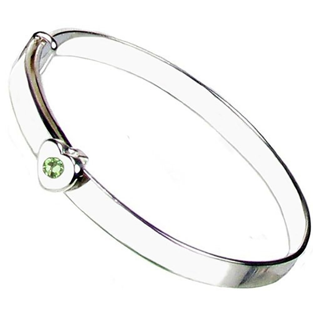 Christening Bangle - Sterling Silver - Peridot Crystal August Birthstone - Free Engraving – Gift Box with Personalised Ribbon - 12 Month Guarantee – Suitable for Girls and Boys Heart to Heart ER-SH-BS-Aug