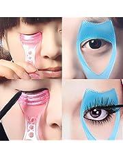 Fengh 3 en 1 mascara de maquillaje pestañas guía peine cosmético herramienta (azul)