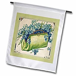 Florene Vintage - Green Purse With Blue Flowers - 18 x 27 inch Garden Flag (fl_40768_2)