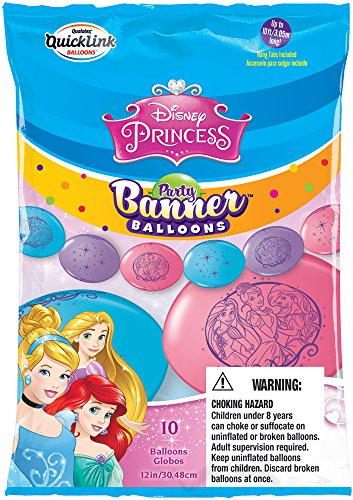 Party Banner Balloons 10 Count Disney Princess QuickLink Banner Balloons. 12-Inch -