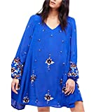 Free People Womens Embroidered Open Back Babydoll Dress Blue S