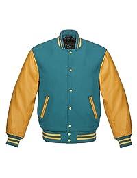 Design Custom Jackets Letterman Baseball Varsity Jacket Gold Leather Sleeves