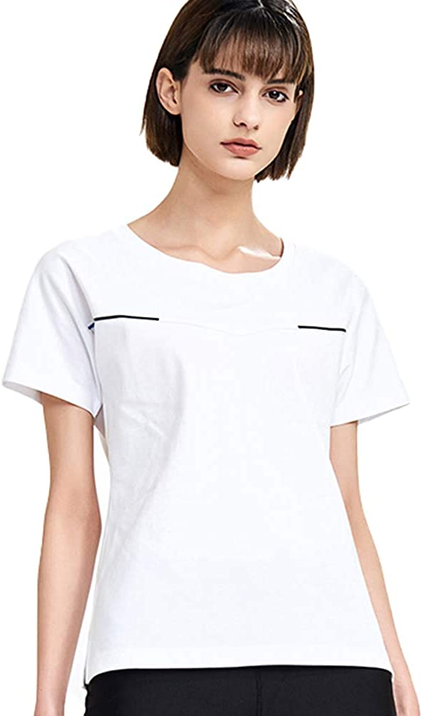 FOOXMET Women's T-Shirt Cooling Shirts Instant Sports Gym Shirt Quick Drying Crew Neck Tee Breathable Moisture Wicking Shirts