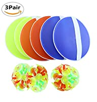 3 Pairs Amersumer Toss and Catch Game with Ball & Grip Mitts for Kids-3 Pair of Paddles and 3 Velcro ball