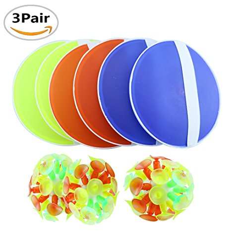 3 Pairs Amersumer Toss and Catch Game with Ball & Grip Mitts for Kids-3 Pair of Paddles and 3 Velcro (Kids Velcro)