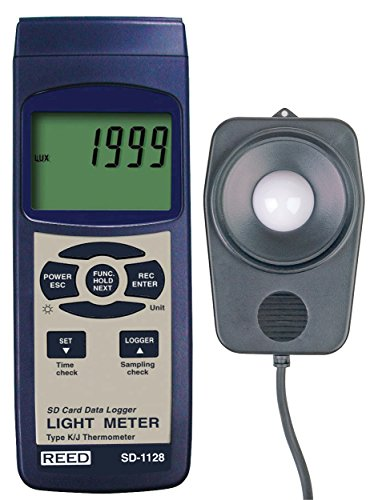 REED Instruments SD-1128 SD Series Light Meter, Datalogger, 100,000 Lux / 10,000 Foot Candles (Fc), w/ Temperature