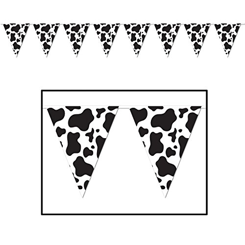 Cow Print Pennant Banner Party Accessory (Value 3-Pack) Cow Print Party Supplies