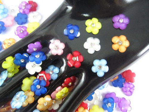 40Pcs Assorted DAISY Resin Flower Loose Flatback - 12mm - with crystals swarovski Rhinestone beads - wholesale Lot supplies scrapbook jewelry crafts - embellishing Scrapbook Card weddings work hair clips headbands hats