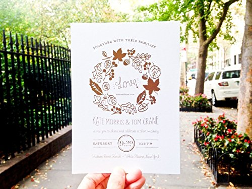75% Recycled Cotton - Fall Leaves Wedding Invitations Set of 75
