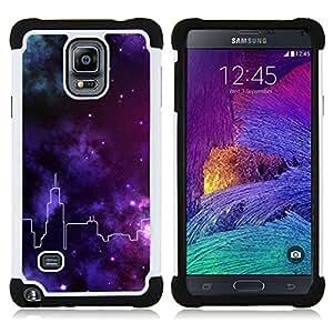 - universe city skyline stars purple deep/ H??brido 3in1 Deluxe Impreso duro Soft Alto Impacto caja de la armadura Defender - SHIMIN CAO - For Samsung Galaxy Note 4 SM-N910 N910