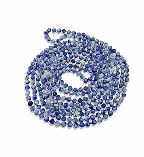 MGR MY GEMS ROCK! BjB 70 Inch 4MM Stone Hand Knotted Natural Blue SodaliteLight Weight Endless Infinity Beaded Necklace.