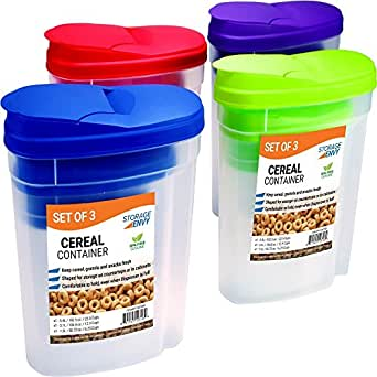 Storage envy cereal storage container set of 3 purple for Container en francais