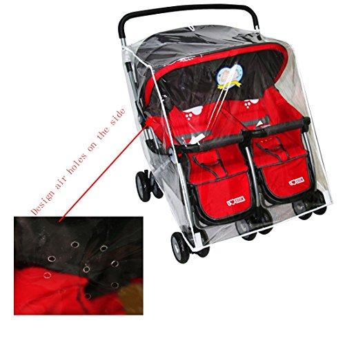 Jiyaru Twin Stroller Rain Cover Universal Buggy Waterproof Wind Dust Shield by Jiyaru (Image #5)