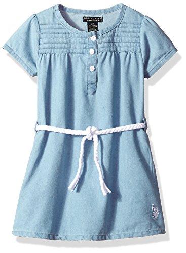 U.S. Polo Assn. Girls' Little Casual Dress, Light Wash-KY64, 5