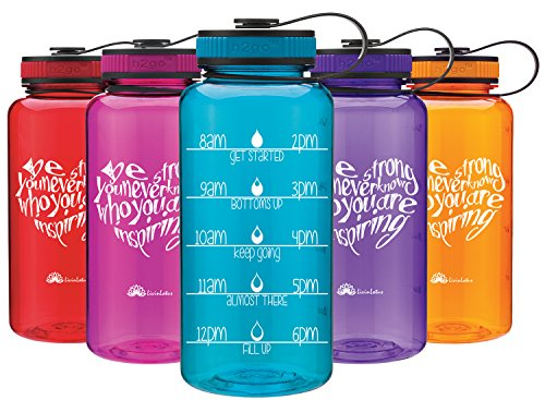 LivinLotus Wide Mouth 34oz Teal Aqua Water Bottle - Inspirational Water Tracker for Hydration Tracking with Hourly Time Marker by (BPA Free)