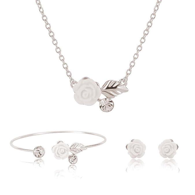 Flower Necklace Bracelet Earri...