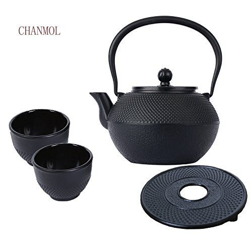 Cast Iron Teapot Sets with Infuser Tower Lid Delicate Body C