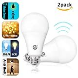 Motion Sensor Light Bulbs Dusk to Dawn LED Light Bulbs Radar Motion Detector Light 100 Watt Equivalent E26 Base A19 Indoor Outdoor Lighting Lamp 12W Soft White 6500K 2 Pack