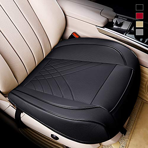 kingphenix Premium PU Car Seat Cover - Front Seat Protector Works with 95% of Vehicles - Padded, Anti-Slip, Full Wrapping Edge - (Dimensions: 21'' x 20.5'')