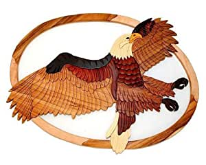 "Distinctive & Unique Hand Carved Decorative Wooden Wall Hanging Decor Art Sculpture - Flying Eagle II (22"" x 17"")"