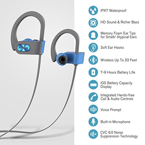 Large Product Image of Mpow Flame Bluetooth Headphones Waterproof IPX7, Wireless Earbuds Sport, Richer Bass HiFi Stereo In-Ear Earphones w/ Mic, Case, 7-9 Hrs Playback Noise Cancelling Headsets (Comfy & Fast Pairing)