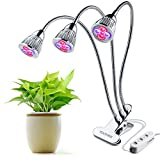 LED Plant Grow Light Three-Head 15W Clip Desk Grow Lamp with 360 Degree Flexible Gooseneck and Three Separate Control Switches for Office, Home, Indoor Garden Greenhouse