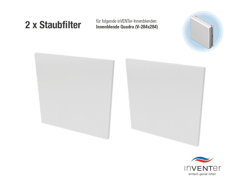2 x inVENTer-Staubfilter der Filterklasse G3 zum Einsetzen in Innenblende Quadra (V284x284) | 1004-0062 | Kunststofffaser-Filter zur Verbesserung der Luft- und Lebensqualitä t inVENTer GmbH